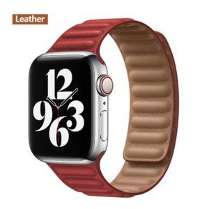 NEW[BAND] Red Leather Magnetic For Apple Watch